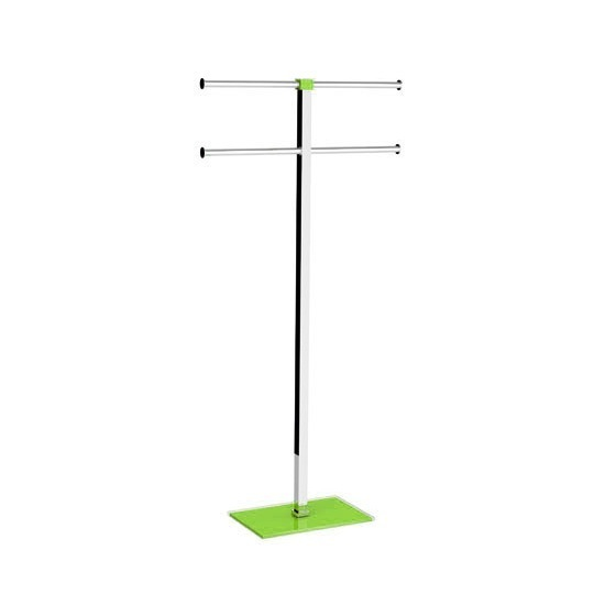 Towel Stand, Gedy RA31-04, Steel and Resin Green Towel Rack