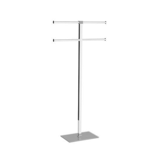 Towel Stand, Gedy RA31-73, Silver Towel Holder in Steel and Resin