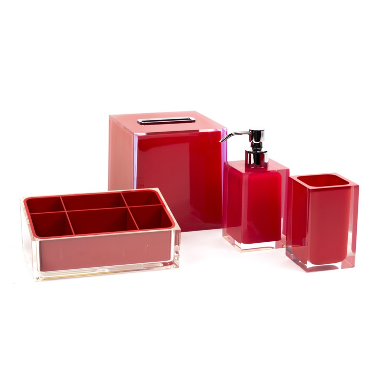 Bathroom Accessory Set, Gedy RA4002-06, Red Thermoplastic Resins Accessory Set