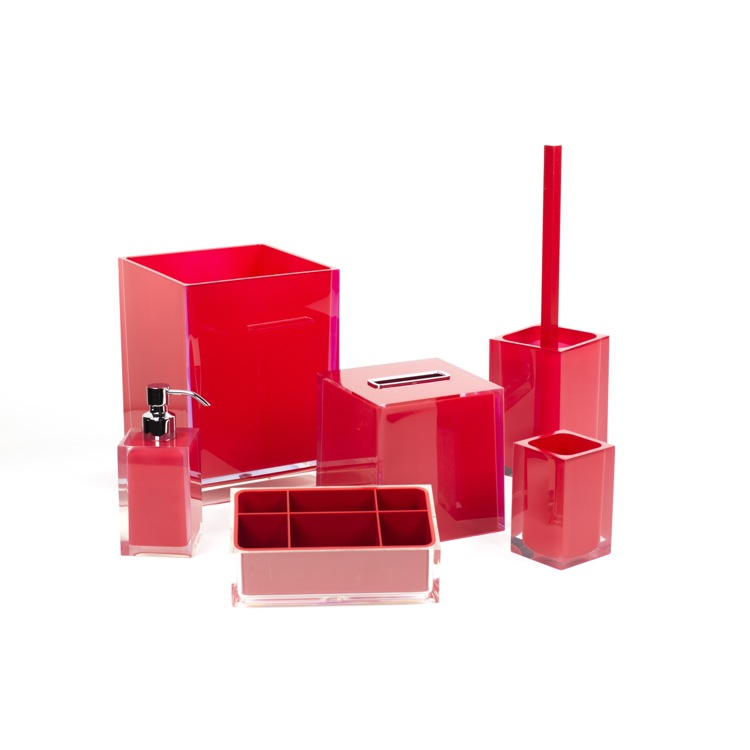 Bathroom Accessory Set, Gedy RA6081-06, 6 Piece Red Accessory Set in Thermoplastic Resin
