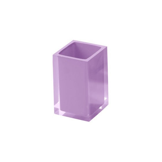 Toothbrush Holder, Gedy RA98-79, Square Toothbrush Tumbler in Lilac Finish