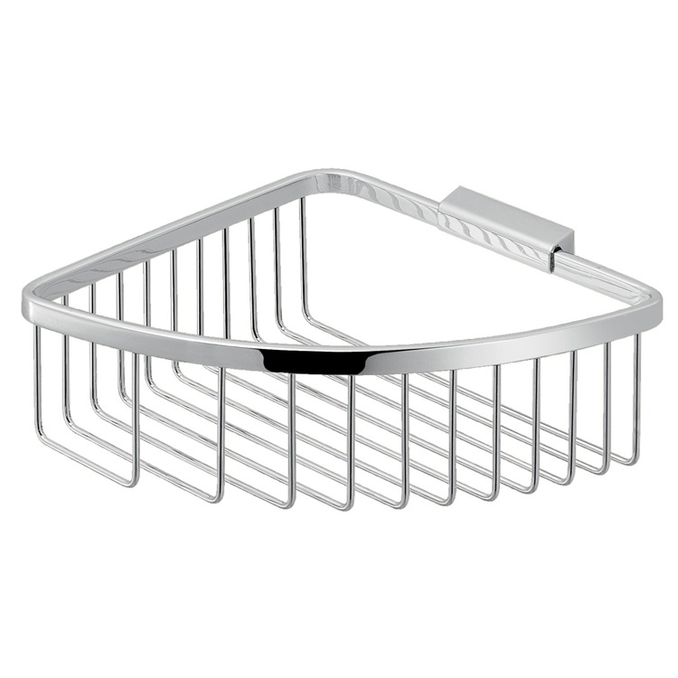 Shower Basket, Gedy S080-13, Modern Chromed Stainless Steel Wire Corner Shower Basket