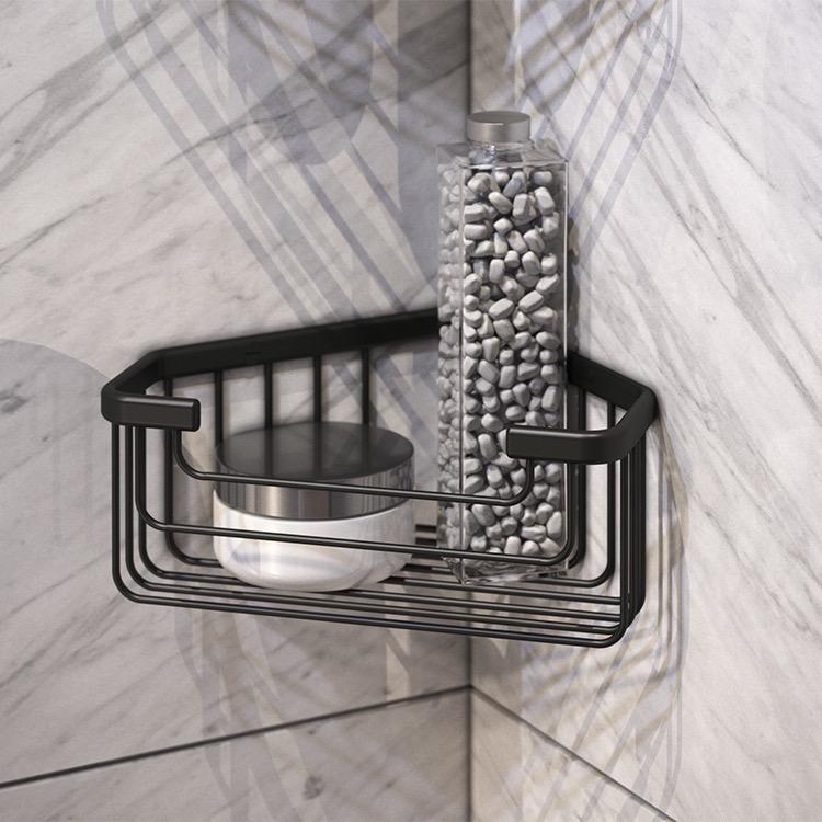 Gedy 2483 14 By Nameek S Wire Matte Black Corner Shower Basket Thebathoutlet