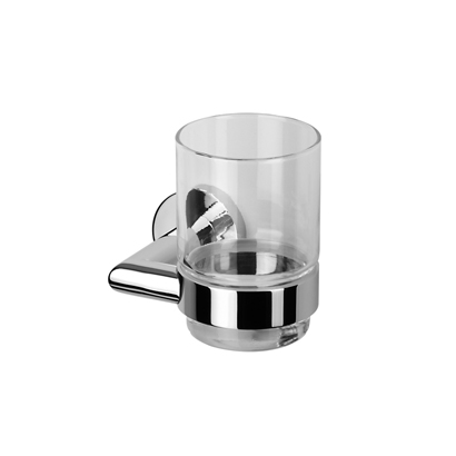 Toothbrush Holder, Geesa 6502-02, Wall Mounted Glass Tumbler with Chrome Holder