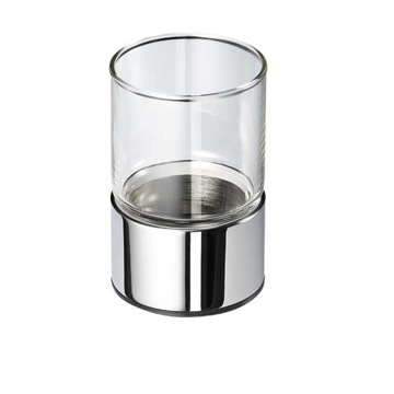 Toothbrush Holder, Geesa 6531-02, Clear Glass Bathroom Tumbler with Chrome Holder