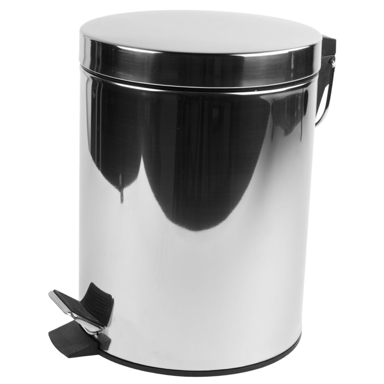 Charmant Chrome Free Standing Round Bathroom Waste Bin With Pedal