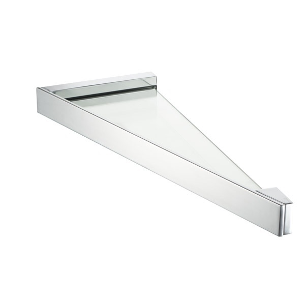 Charmant Bathroom Shelf, Geesa 3521 02, Triangle Wall Mounted Chrome Bathroom Shelf
