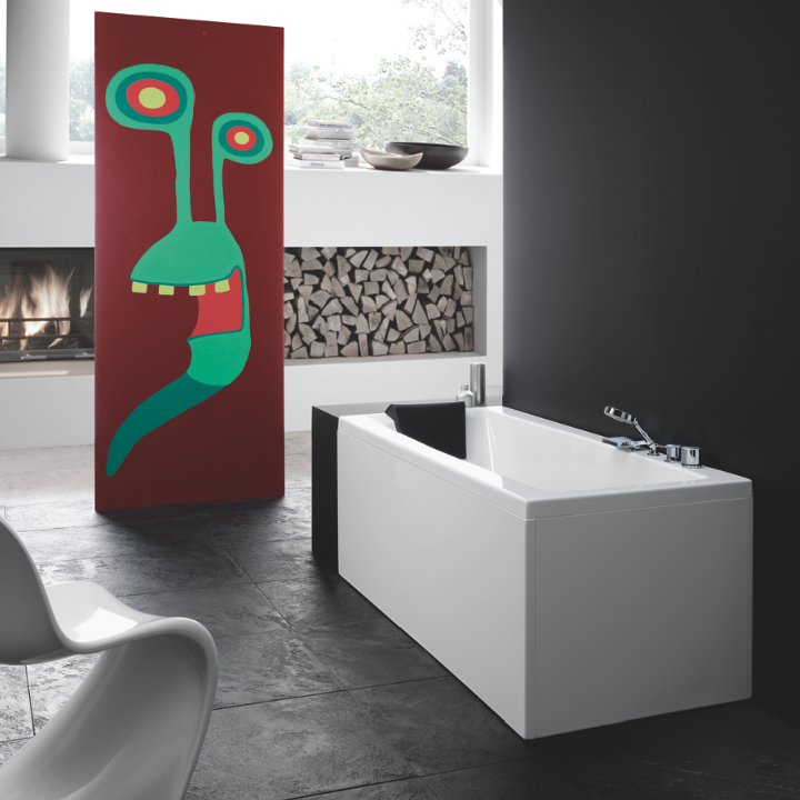 Charming Bathtub, Glass PR000A0 2, White Rectangular Corner Bathtub With 2 Panels