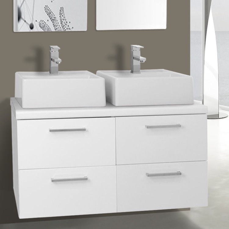 37 inch glossy white double vessel sink bathroom vanity, wall