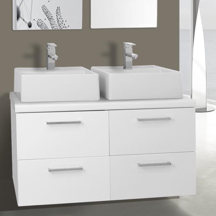 Bathroom Vanity, Iotti AN26, 37 Inch Glossy White Double Vessel Sink  Bathroom Vanity,