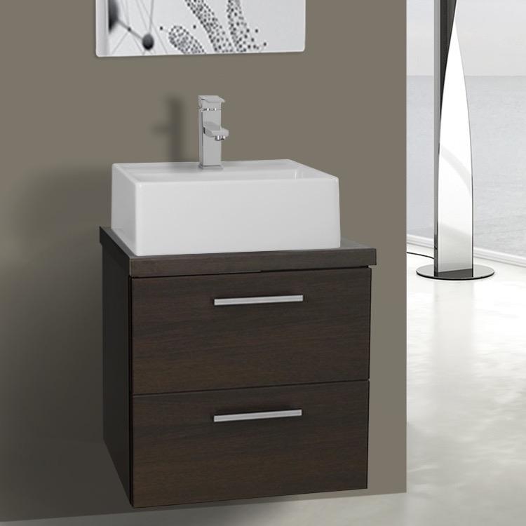 19 Inch Wenge Small Vessel Sink Bathroom Vanity Wall Mounted