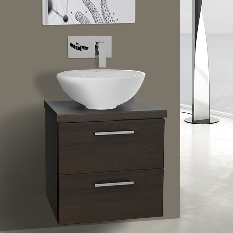 19 Inch Wenge Small Vessel Sink Bathroom Vanity Wall Mounted