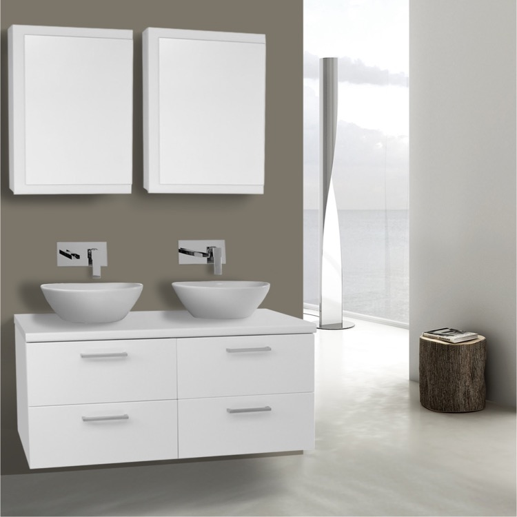 45 Inch Glossy White Double Vessel Sink Bathroom Vanity, Wall Mounted,  Medicine Cabinets Included