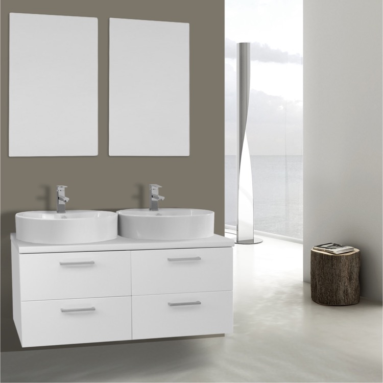 45 Inch Glossy White Double Vessel Sink Bathroom Vanity, Wall ...  Inch Bathroom Vanity on 54 inch bathroom vanity, 100 inch bathroom vanity, 30 inch bathroom vanity, 68 inch bathroom vanity, 23 inch bathroom vanity, 16 inch bathroom vanity, 46 inch bathroom vanity, 44 inch bathroom vanity, 50 inch bathroom vanity, 20 inch bathroom vanity, 59 inch bathroom vanity, 10 inch bathroom vanity, 14 inch bathroom vanity, 25 inch bathroom vanity, 22 inch bathroom vanity, 83 inch bathroom vanity, 15 inch bathroom vanity, 70 inch bathroom vanity, 32 inch bathroom vanity, 64 inch bathroom vanity,