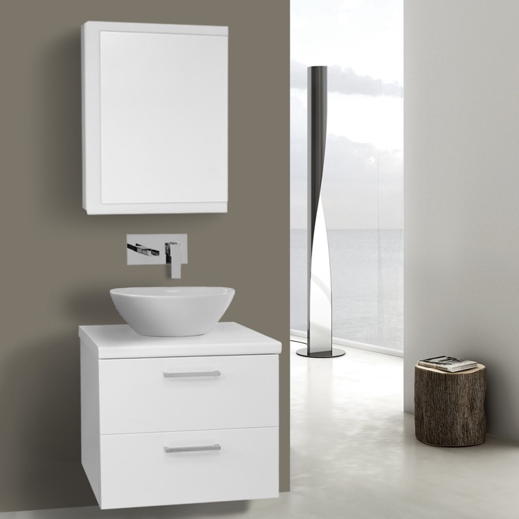 22 Inch Glossy White Vessel Sink Bathroom Vanity Wall Mounted Medicine Cabinet Included