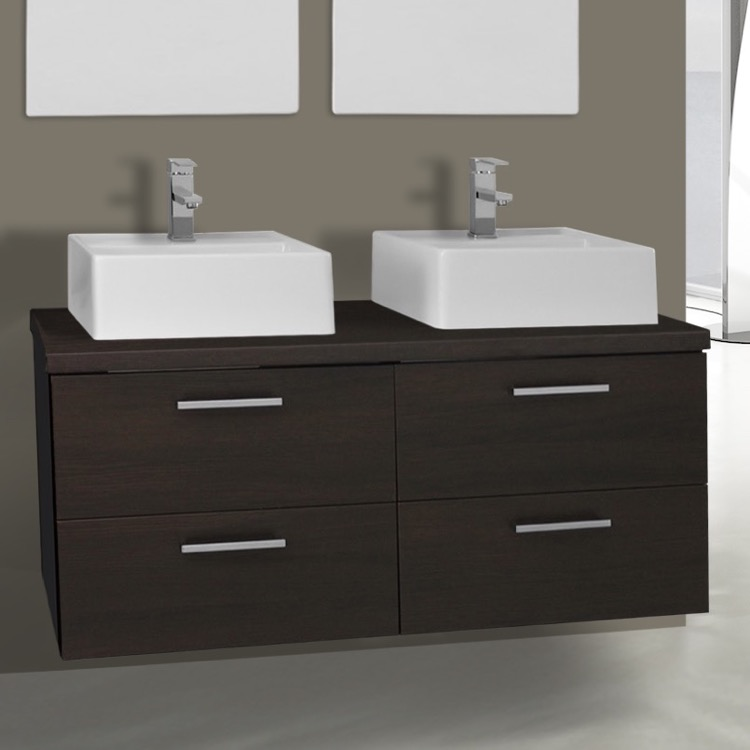 Iotti An55 By Nameek S Aurora 45 Inch Wenge Double Vessel Sink Bathroom Vanity Wall Mounted Thebathoutlet