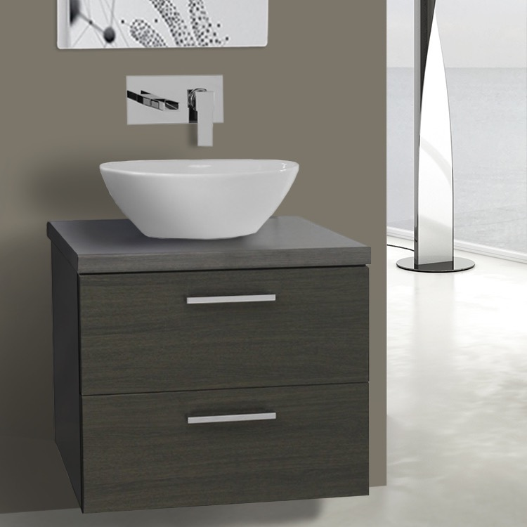 Iotti An45 By Nameek S Aurora 22 Inch Grey Oak Vessel Sink Bathroom Vanity Wall Mounted Thebathoutlet