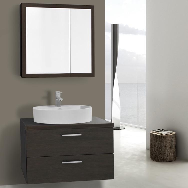 30 Inch Wenge Vessel Sink Bathroom Vanity, Wall Mounted, Medicine Cabinet  Included