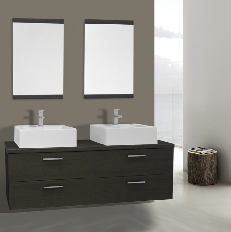 Iotti An504 By Nameeks Aurora 61 Inch Grey Oak Double Vessel Sink