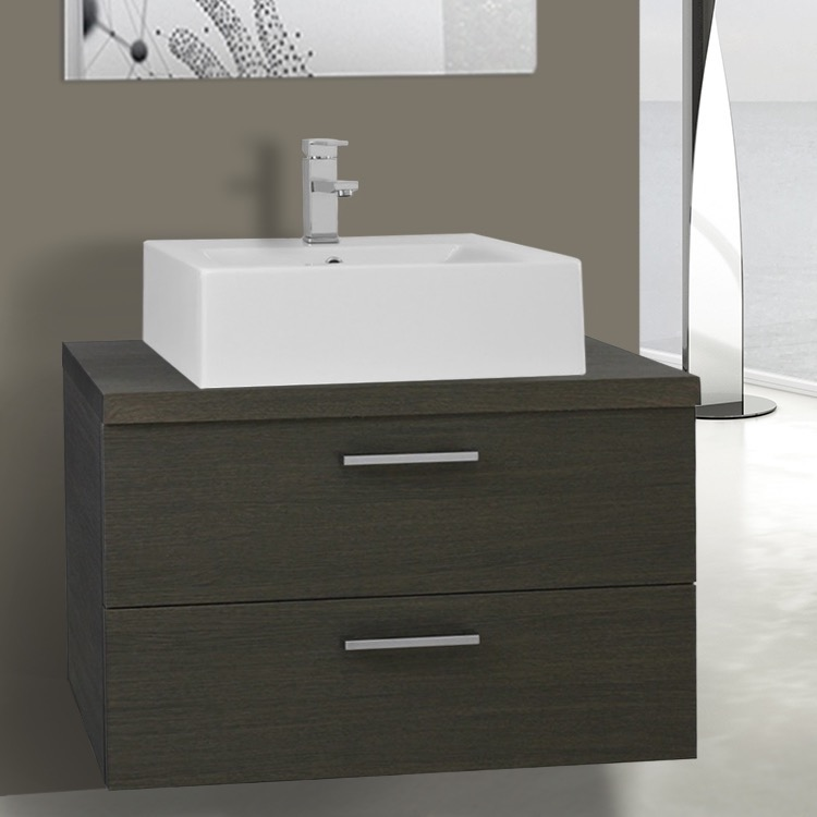 Bathroom Vanity, Iotti AN69, 30 Inch Grey Oak Vessel Sink Bathroom Vanity, Wall Mounted