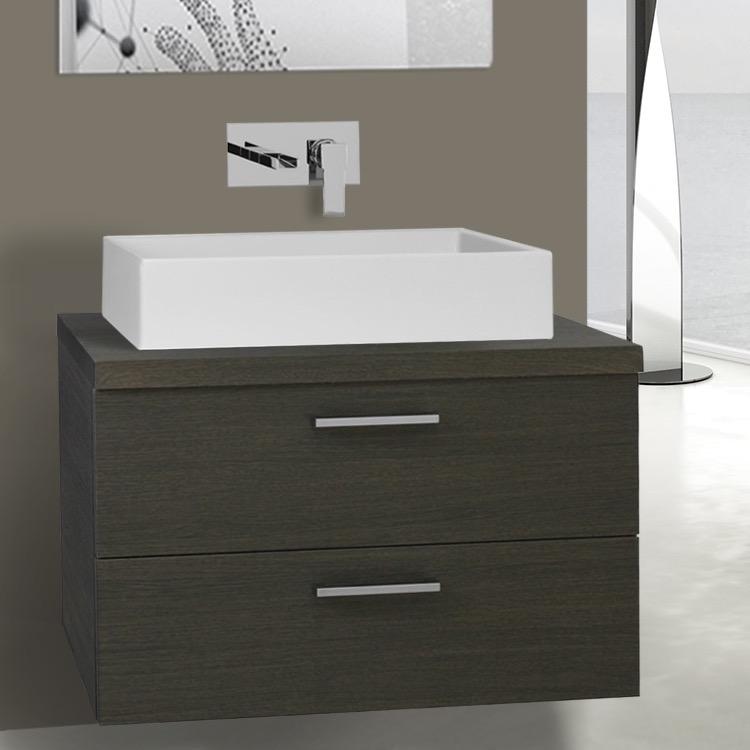 30 Inch Grey Oak Vessel Sink Bathroom Vanity, Wall Mounted