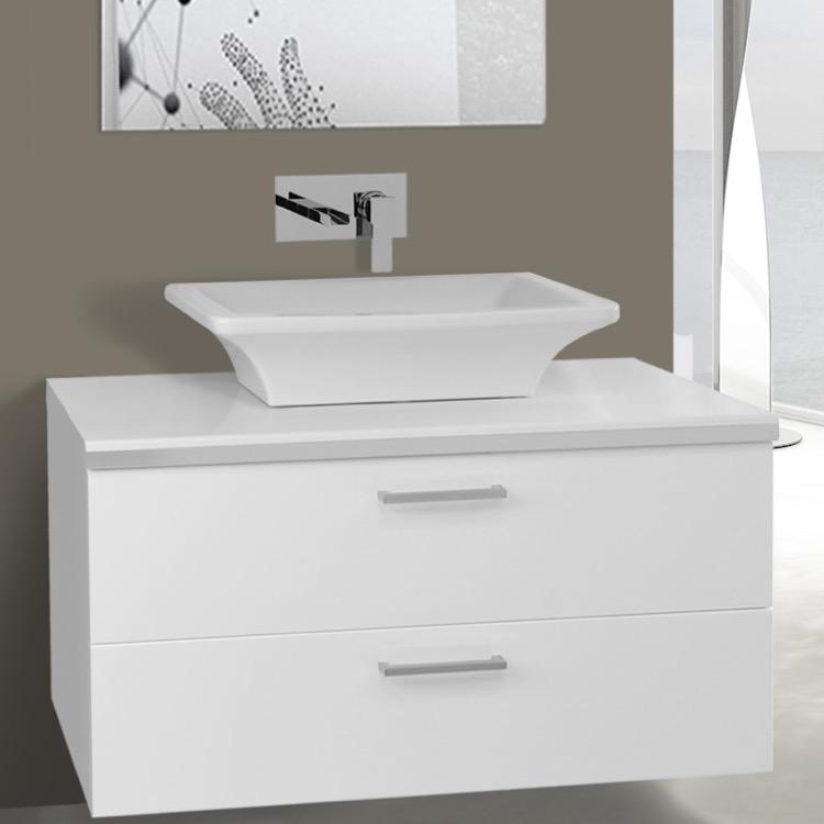 Inch Glossy White Vessel Sink Bathroom Vanity Wall Mounted - 38 inch bathroom vanity
