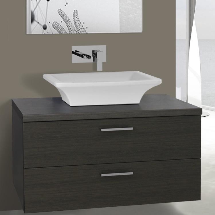 Inch Grey Oak Vessel Sink Bathroom Vanity Wall Mounted Iotti - 38 inch bathroom vanity