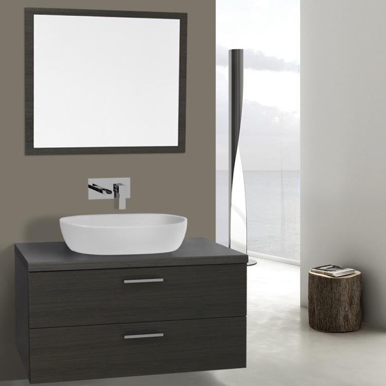 Bathroom Vanity, Iotti AN768, 38 Inch Grey Oak Vessel Sink Bathroom Vanity,  Wall