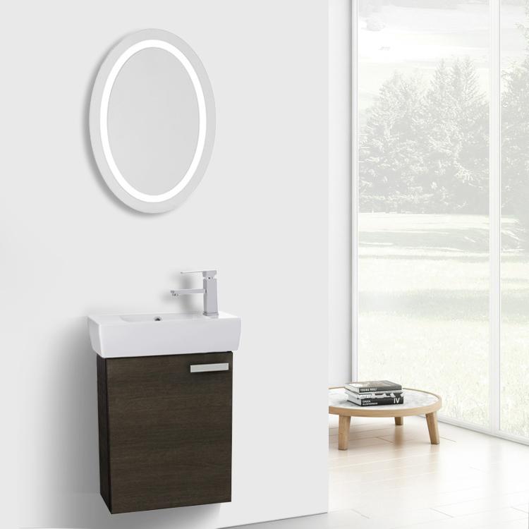 Bathroom Vanity, ACF C220, 19 Inch Grey Oak Wall Mount Bathroom Vanity With  Fitted