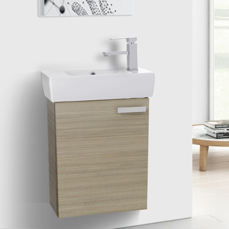 Bathroom Vanity, ACF C140, 19 Inch Larch Canapa Wall Mount Bathroom Vanity with Fitted Ceramic Sink