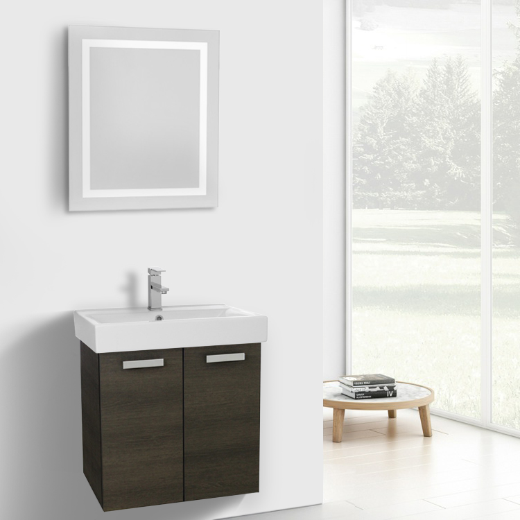 Bathroom Vanity, ACF C246, 24 Inch Grey Oak Wall Mount Bathroom Vanity with Fitted Ceramic Sink, Lighted Mirror Included