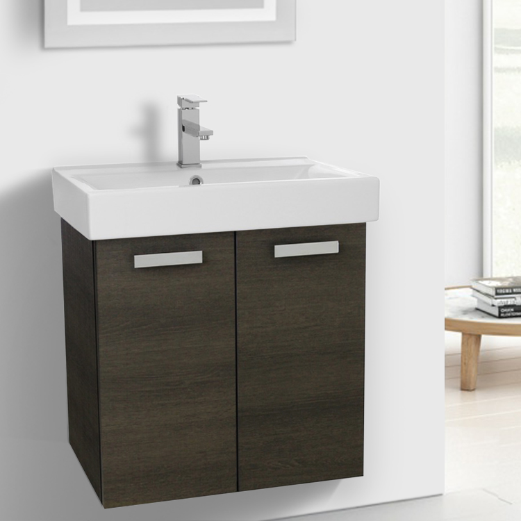 Bathroom Vanity, ACF C143, 24 Inch Grey Oak Wall Mount Bathroom Vanity With  Fitted