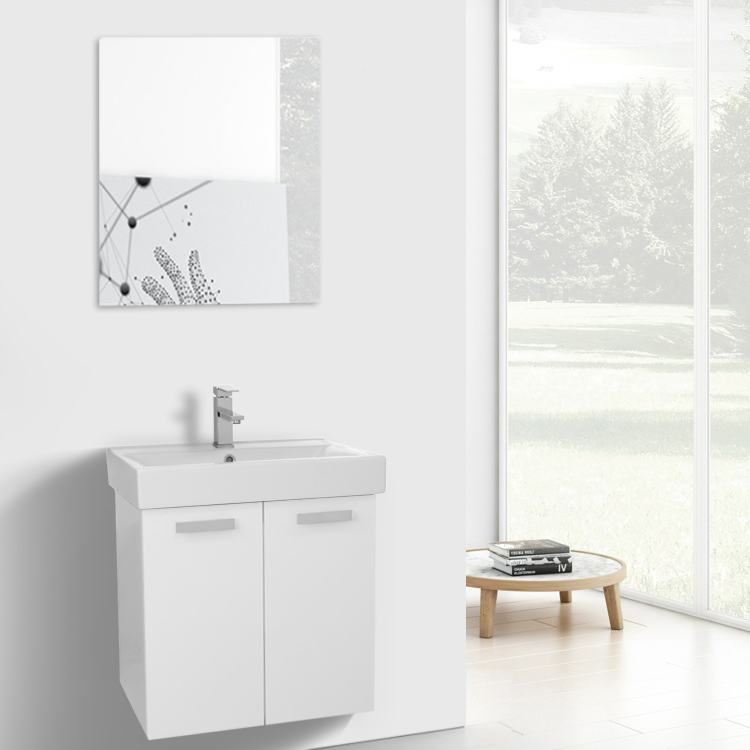 Bathroom Vanity, ACF C229, 24 Inch Glossy White Wall Mount Bathroom Vanity with Fitted Ceramic Sink, Mirror Included