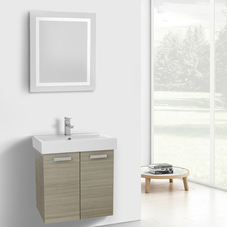 Bathroom Vanity, ACF C254, 24 Inch Larch Canapa Wall Mount Bathroom Vanity with Fitted Ceramic Sink, Lighted Mirror Included