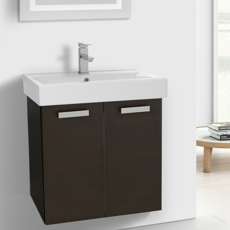 Swell 24 Inch Wenge Wall Mount Bathroom Vanity With Fitted Ceramic Sink Download Free Architecture Designs Ogrambritishbridgeorg