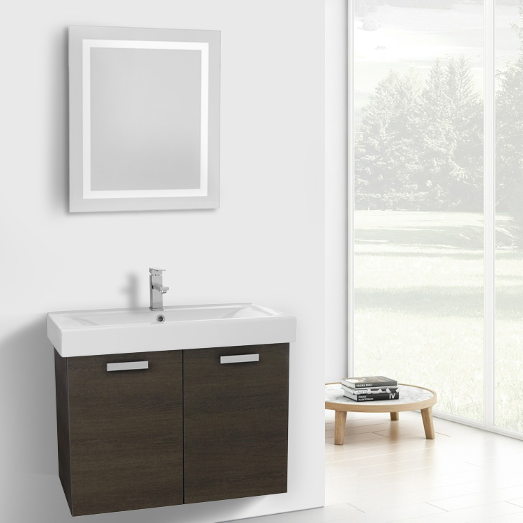 Bathroom Vanity, ACF C273, 32 Inch Grey Oak Wall Mount Bathroom Vanity with Fitted Ceramic Sink, Lighted Mirror Included