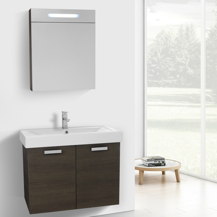 32 Inch Grey Oak Wall Mount Bathroom Vanity With Ed Ceramic Sink Lighted Medicine Cabinet Included
