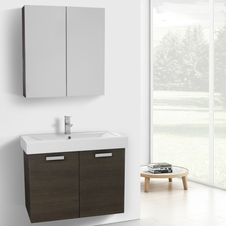 Bathroom Vanity, ACF C909, 32 Inch Grey Oak Wall Mount Bathroom Vanity with Fitted Ceramic Sink, Medicine Cabinet Included