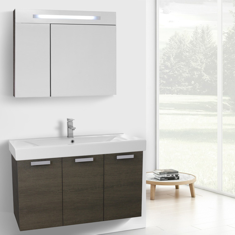 Bathroom Vanity, ACF C961, 39 Inch Grey Oak Wall Mount Bathroom Vanity with Fitted Ceramic Sink, Lighted Medicine Cabinet Included
