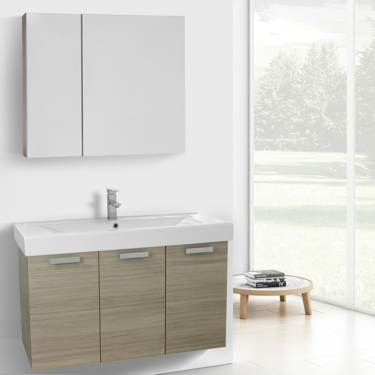 Bathroom Vanity, ACF C971, 39 Inch Larch Canapa Wall Mount Bathroom Vanity with Fitted Ceramic Sink, Medicine Cabinet Included