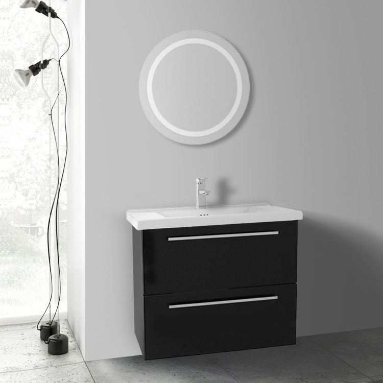 Bathroom Vanity, Iotti FN408, 28 Inch Glossy Black Bathroom Vanity, Wall  Mounted,