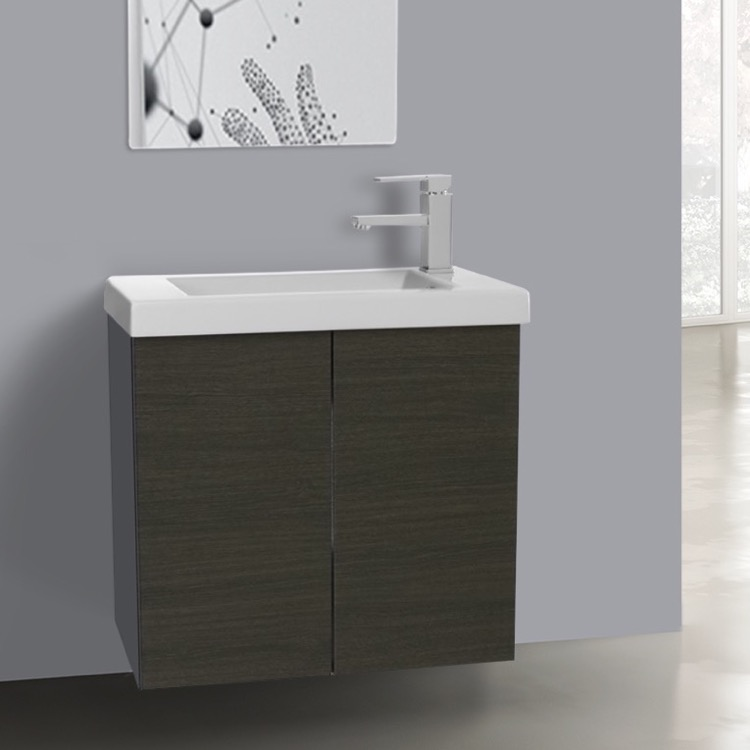 Bathroom Vanity, Iotti HD01C-Gray Oak, 2 Doors Vanity Cabinet with Self Rimming Sink