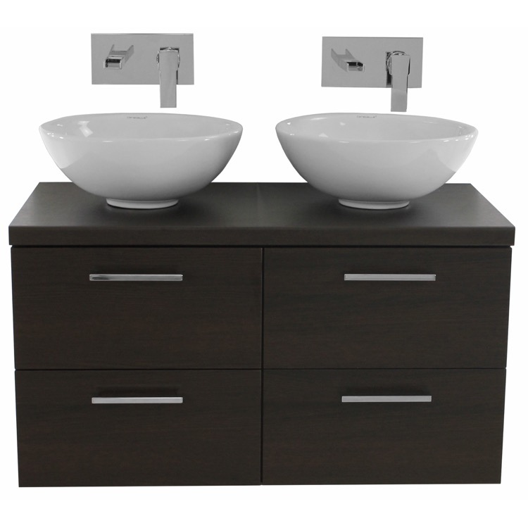 Surprising 37 Inch Wenge Double Vessel Sink Bathroom Vanity Wall Mounted Interior Design Ideas Helimdqseriescom
