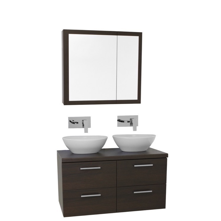 ... Double Vessel Sink Bathroom Vanity, Wall Mounted, Medicine Cabinet
