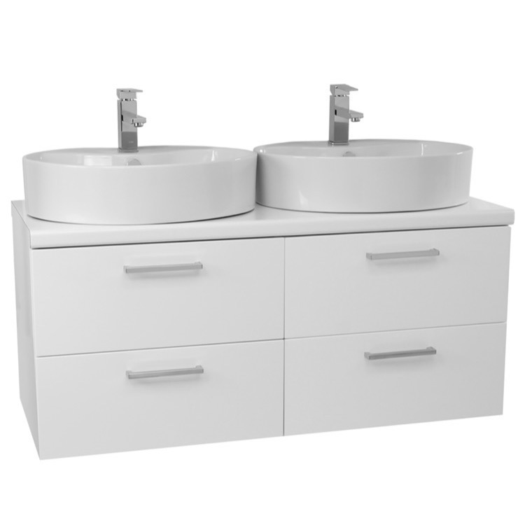 ... 45 Inch Glossy White Double Vessel Sink Bathroom Vanity, Wall Mounted