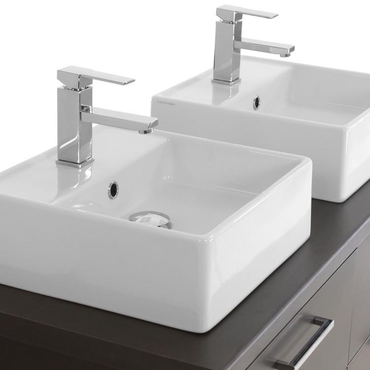 Iotti An55 By Nameek S Aurora 45 Inch Wenge Double Vessel Sink Bathroom Vanity Wall Mounted Thebathoutlet