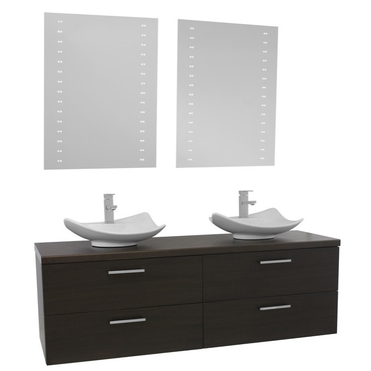 ... Vessel Sink Bathroom Vanity, Wall Mounted, Lighted Mirrors Included