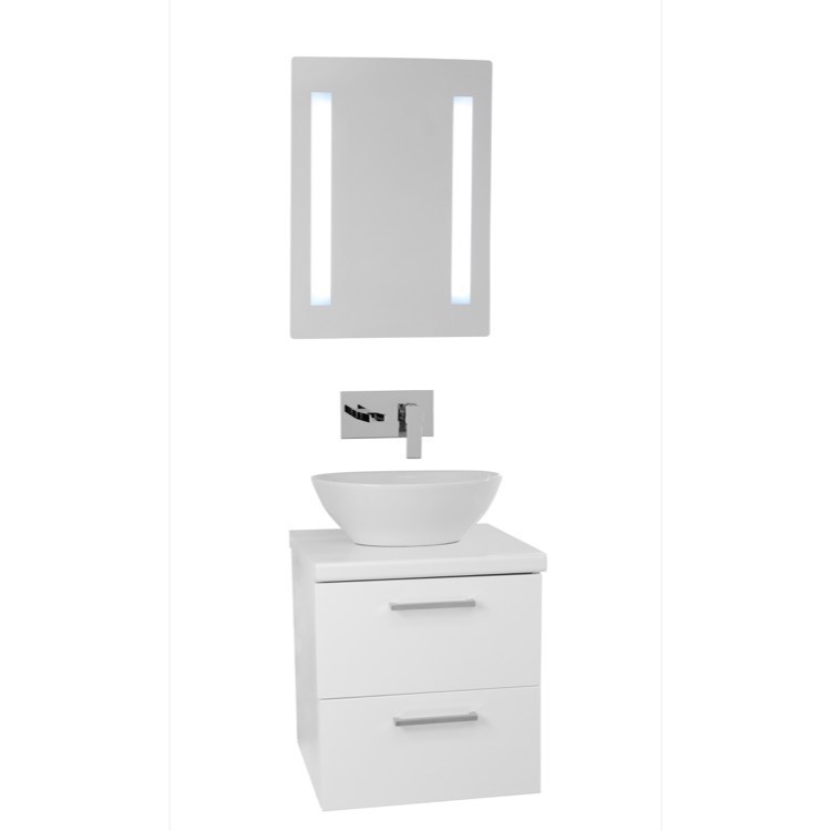 Small Vessel Sink Vanity : Bathroom Vanity, Iotti AN517, 19 Inch Glossy White Small Vessel Sink ...