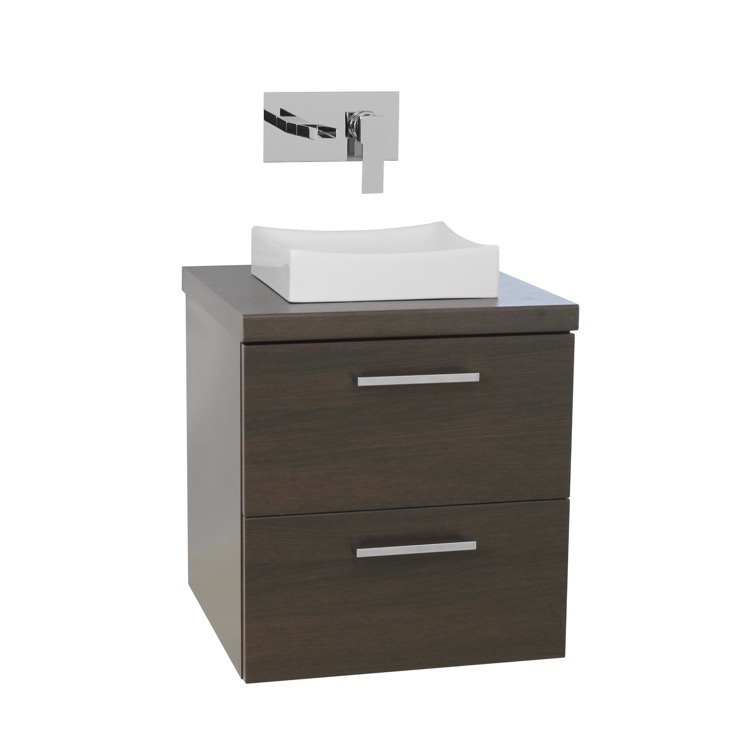 Small Vanity With Vessel Sink : Vanity, Iotti AN19, 19 Inch Wenge Small Vessel Sink Bathroom Vanity ...