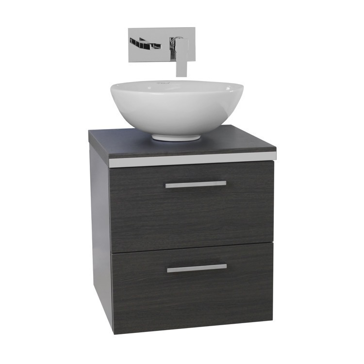 Vanity, Iotti AN24, 19 Inch Grey Oak Small Vessel Sink Bathroom Vanity ...